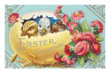 Easter Greeting, Chicks in Egg Posters