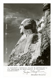 George Washington Head at Mount Rushmore, with Dimensions, Art Print
