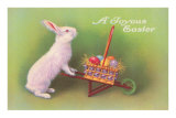 Joyous Easter, Rabbit with Wheelbarrow Poster
