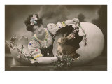 Woman with Rabbit in Eggshell Posters