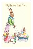 Happy Easter, Mother Rabbit with Pram Prints