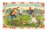 Happy Easter, Creatures Playing Soccer Lámina giclée