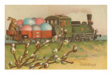 Easter Greetings, Locomotive with Eggs Poster