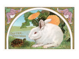 Easter Greetings, Rabbit and Turtle Poster
