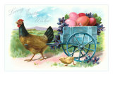 Loving Easter Wishes, Rooster Pulling Egg Wagon Print