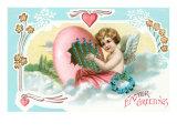 Easter Greetings, Cherub with Egg Harp Print