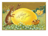 Happy Easter, Rabbits and Egg Posters