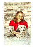 Woman with Two Sealyham Terriers Posters