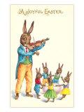 Joyful Easter, Fiddler Rabbit Posters