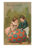 Easter Greetings, Children with Multi-Colored Egg Posters