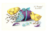 Happy Easter, Chicks with Purple Egg Posters