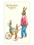 Joyeuses Pâques, lapin poussant une brouette Poster