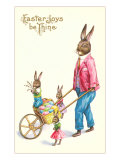 Easter Joys be Thine, Rabbit and Wheelbarrow Poster