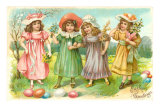 Easter Greetings, Little Girls with Eggs Posters