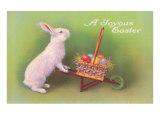 Joyous Easter, Rabbit with Wheelbarrow Poster