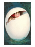 Girl in Cracked Egg Posters