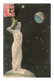 French Woman with Crown on Moon, Watching Earth Posters
