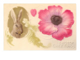 Easter Greetings, Rabbit and Flower Posters