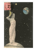 French Woman with Crown on Moon, Watching Earth Poster
