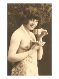 Topless Woman with Cup and Saucer Posters