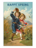 Happy Spring, Children Frolicking Posters