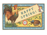 Happy Spring, Rooster and Scarab Print