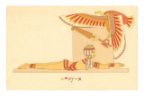 Sphynx, Prone Egyptian Woman with Vulture Prints