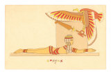 Sphynx, Prone Egyptian Woman with Vulture Print