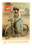 French Woman with Bicycle Posters