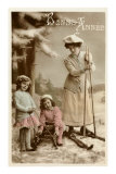 Bonne Annee, Woman on Skis Prints