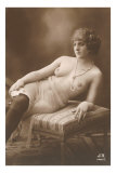 Semi-nude Woman with Dark Stockings and Pearls Posters