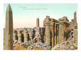 Colonnade, Obelisk, Karnak, Egypt Posters