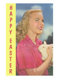 Happy Easter, Blonde with Rabbit Posters