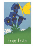 Happy Easter, Butterfly with Flower Poster