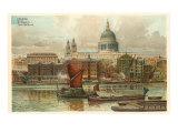 St. Pauls, Thames, London, England Print