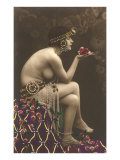 Belly Dancer with Roses Print