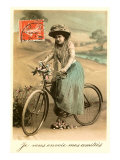 French Woman with Bicycle Print