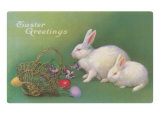 Easter Greetings, Rabbits and Basket Poster