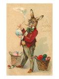 Joyeuses Pâques, lapin à lunettes peignant un œuf Reproduction giclée Premium