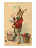 Joyous Easter, Spectacled Rabbit Painting Egg Print