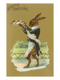 Easter Greetings, Rabbit Waiter Poster