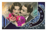 French Couple with Flowers Poster