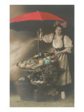 Woman under Umbrella Selling Eggs Posters
