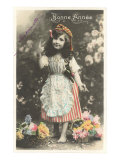 Bonne Annee, Girl with Flowers Posters