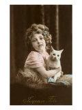 Joyeuse Fête, fillette avec un chat Posters
