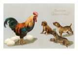 Easter Greetings, Rooster and Puppies Poster