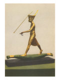 Gilded King Tut Statue Spear Fishing from Reed Boat Print