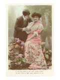 French Couple with Flowers Print