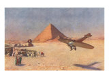 Monoplane Landing by Pyramid and Sphinx Poster