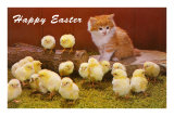 Happy Easter, Kitten and Chicks Giclee Print